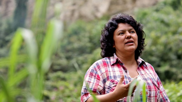 Berta Caceres at the banks of the Gualcarque River in the Rio Blanco region of western Honduras where she, COPINH (the Council of Popular and Indigenous Organizations of Honduras) and the people of Rio Blanco have maintained a two year struggle to halt construction on the Agua Zarca Hydroelectric project, that poses grave threats to local environment, river and indigenous Lenca people from the region.