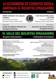 [:es]Charla: La escombrera de Cementos Rezola amenaza el Bolintxu (Pagasarri)[:eu]Hitzaldia: La escombrera de Cementos Rezola amenaza el Bolintxu (Pagasarri)[:] @ Ekoetxea | Bilbao | Euskadi | España