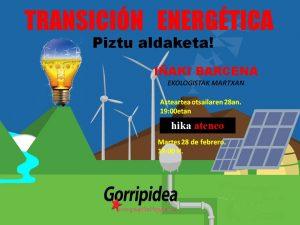 [:es]Charla: Transición energética en Euskal Herria[:eu]Hitzaldia: Trantsizio energetikoa Euskal Herrian[:] @ Hikaateneo, Muelle de Ibeni 1. Bilbao
