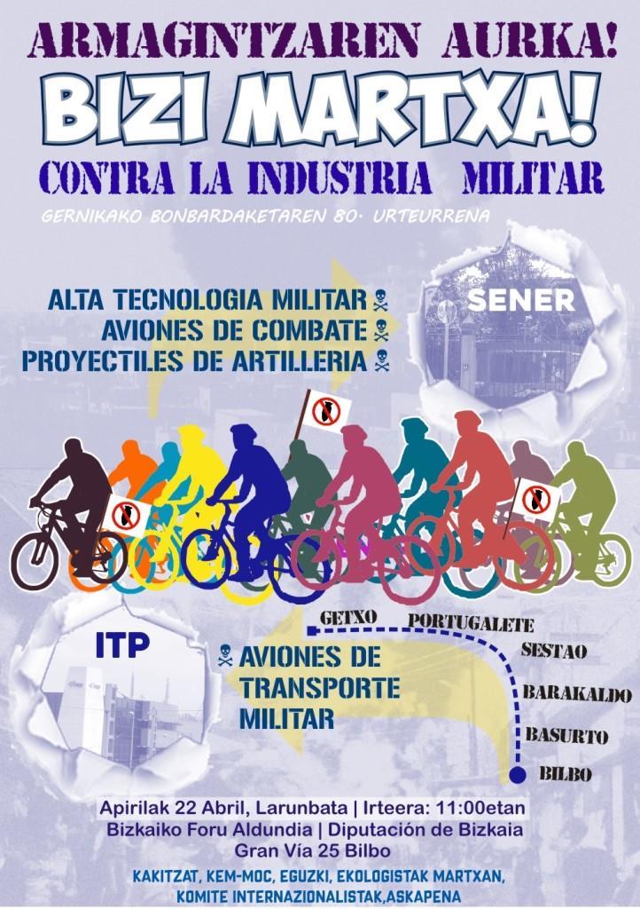 [:es]Bizi Martxa! Contra la industria militar[:eu]Bizi Martxa! Armagintzaren aurka[:] @ DFB, Gran Vía 25, BIlbo