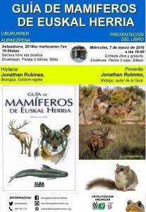 """[:es]Presentación del libro """"Guía de mamíferos de Euskal Herria""""[:eu]Liburu - aurkezpena: """"Guía de mamíferos de Euskal Herria""""[:] @ Ekoetxea (calle Pelota 5, Bilbo)"""