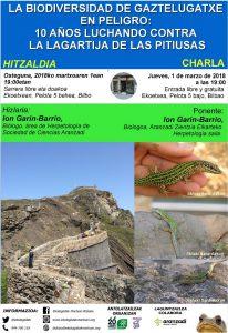[:es]Charla: La biodiversidad de Gaztelugatxe en peligro: 10 años luchando contra la lagartija de Pitiusas[:eu]Hitzaldia: La biodiversidad de Gaztelugatxe en peligro: 10 años luchando contra la lagartija de Pitiusas[:] @ Ekoetxea (Pelota kalea 5, Bilbo)