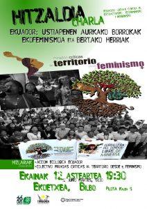 [:es]Charla: Ecuador: luchas contra el extractivismo EcoFeminismo e indigenismo[:eu]Hitzaldia: Ekuadorreko ustiapen aurkako borrokak - Ekofeminismoa eta bertako herriak. [:] @ Ekoetxea  | Bilbo | Euskadi | Espainia