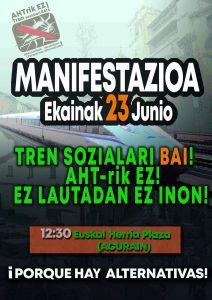 [:es]Manifestación: Tren sozialari Bai! AHTrik Ez![:eu]Manifestazioa: Tren sozialari Bai! AHTrik Ez![:] @ Euskal Herria Plaza (Agurain)