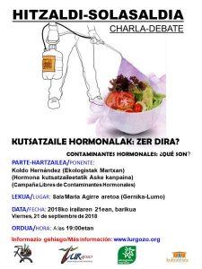 [:es]Charla: Contaminantes hormonales, ¿qué son? [:eu]Hitzaldia: Kutsatzaile hormonalak, zer dira? [:] @ Sala Maria Agirre aretoa (Gernika-Lumo)