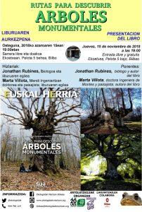 """[:es]Presentación del libro """"Rutas para descubrir árboles monumentales"""" [:eu]""""Rutas para descubrir árboles monumentales"""" liburuaren aurkezpena [:] @ Ekoetxea. Pelota kalea 5, behea-bajo. Bilbao"""
