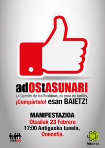 [:es]MANIFESTACION: La Gestión de Residuos es cosa de tod@s[:eu]adOStASUNARI esan BAIETZ! MANIFESTAZIOA [:] @ Antiguoko tunela, Donostia