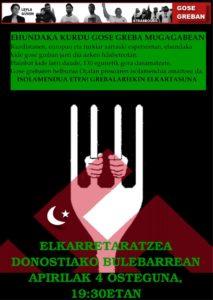 Elkarretaratzea: Kurdistango gose grebalariekin elkartasunean @ Bule (Donostia)