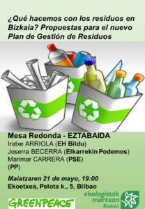 [:es]Mesa redonda (Bilbao): ¿Qué hacemos con los residuos en Bizkaia?[:eu]Eztabaida (Bilbo): Zer egin hondakinekin Bizkaian?[:] @ Ekoetxea