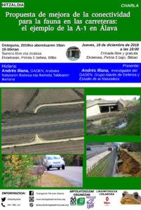 [:es]Charla (Bilbao): Propuesta de mejora de la conectividad para la fauna en las carreteras: el ejemplo de la A-1 en Álava[:eu]Hitzaldia: Propuesta de mejora de la conectividad para la fauna en las carreteras: el ejemplo de la A-1 en Álava[:] @ Ekoetxea