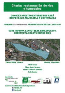 [:es]Charla (Astrabudua): restauración de ríos y humedales[:eu]Hitzaldia (Astrabudua): restauración de ríos y humedales[:] @ Josu Murueta Kultur Etxea (areto urdina)