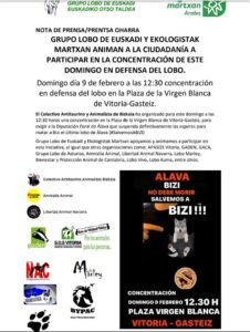 [:es]Vitoria - Gasteiz: Concentración a favor del último lobo de Alava[:eu]Vitoria - Gasteiz: Arabako azken otsoaren aldeko konzentrazioa[:]