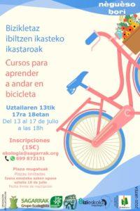 [:es]Curso para aprender andar en bicicleta, para que puedas disfrutar de ella, este verano y toda la vida.[:eu] Bizikletaz ibiltzen ikasteko ikastaroa, udan gozatzeko.[:]