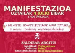 [:es]Manifestación (Eibar): 5 meses, pedimos responsabilidades![:eu]Manifestazioa (Eibar): 5 hilabete, erantzukizunak nahi ditugu![:]