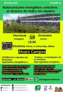 """[:es]Charla (Bilbao): """"Autoconsumo energético colectivo: al alcance de todos los tejados"""" [:eu] Hitzaldia (Bilbo): """"Autoconsumo energético colectivo: al alcance de todos los tejados"""" [:] @ Ekoetxea"""