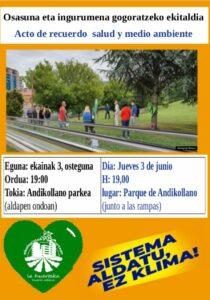 [:es]Acto de recuerdo salud y medio ambiente en el Parque de Andikollano (Barakaldo)[:eu]Osasuna eta ingurumena gogoratzeko ekitaldia Andikollano parkean (Barakaldo)[:]
