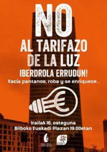 [:es]Concentración (Bilbao): No al tarifazo de la luz. Iberdrola errudun![:eu]Kontzentrazioa (Bilbo): No al tarifazo de la luz. Iberdrola errudun![:]