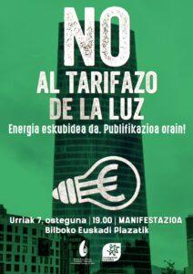 [:es]Rueda de prensa y concentración (Bilbao): No al tarifazo de la luz[:eu]Prentsaurrekoa eta kontzentrazioa (Bilbo): argiaren tarifazorik ez[:] @ Plaza Euskadi - Frente Torre Iberdrola