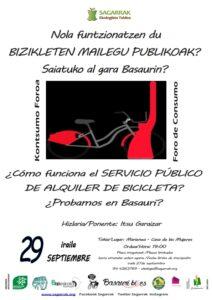 [:es]¿Cómo funciona el SERVICIO PÚBLICO DE ALQUILER DE BICICLETA? ¿Probamos en Basauri?. Foro Consumo.[:eu]Nola funtzionatzen du BIZIKLETA PUBLIKOAREN ALOKAIRU ZERBITZUAK?. Saiatuko al gara, Basaurin?. Kontsumo Foroa.[:] @ Marienea. Casa de las Mujeres de Basauri
