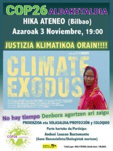 [:es]Proyección y coloquio (Bilbao): Climate exodus[:eu]Proiekzioa eta solasaldia (Bilbo): Climate exodus[:] @ Hika Ateneo