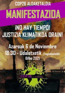 [:es]Manifestación (Bilbao): No hay tiempo! Justizia klimatikoa orain![:eu]Manifestazioa (Bilbo): No hay tiempo! Justizia klimatikoa orain![:] @ Ayuntamiento de Bilbao (Tinglados)